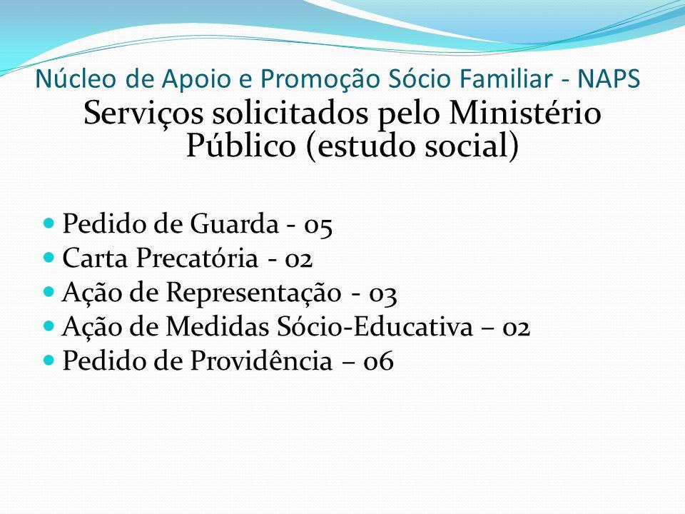 Núcleo de Apoio e Promoção Sócio Familiar - NAPS Serviços solicitados pelo Ministério Público (estudo social) Pedido de Guarda - 05 Carta Precatória -