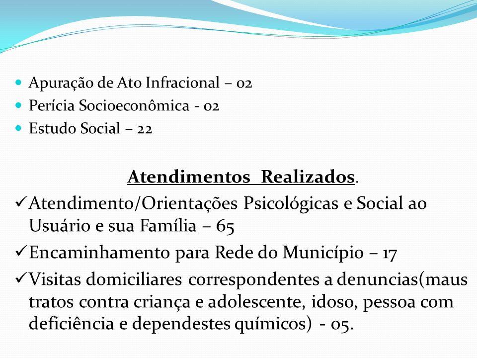 Apuração de Ato Infracional – 02 Perícia Socioeconômica - 02 Estudo Social – 22 Atendimentos Realizados. Atendimento/Orientações Psicológicas e Social