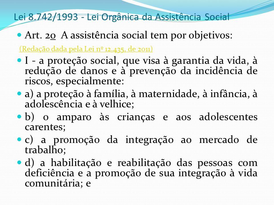 Lei 8.742/1993 - Lei Orgânica da Assistência Social Art. 2o A assistência social tem por objetivos: (Redação dada pela Lei nº 12.435, de 2011) (Redaçã