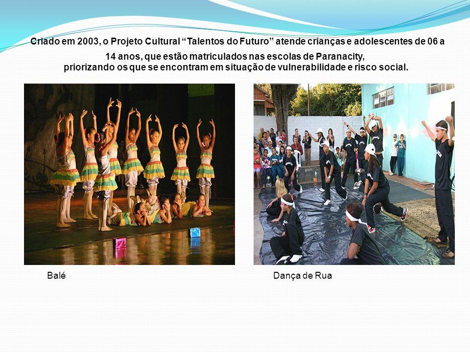 Criado em 2003, o Projeto Cultural Talentos do Futuro atende crianças e adolescentes de 06 a 14 anos, que estão matriculados nas escolas de Paranacity