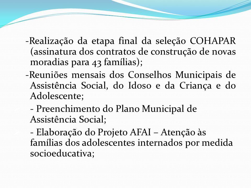 -Realização da etapa final da seleção COHAPAR (assinatura dos contratos de construção de novas moradias para 43 famílias); -Reuniões mensais dos Conse