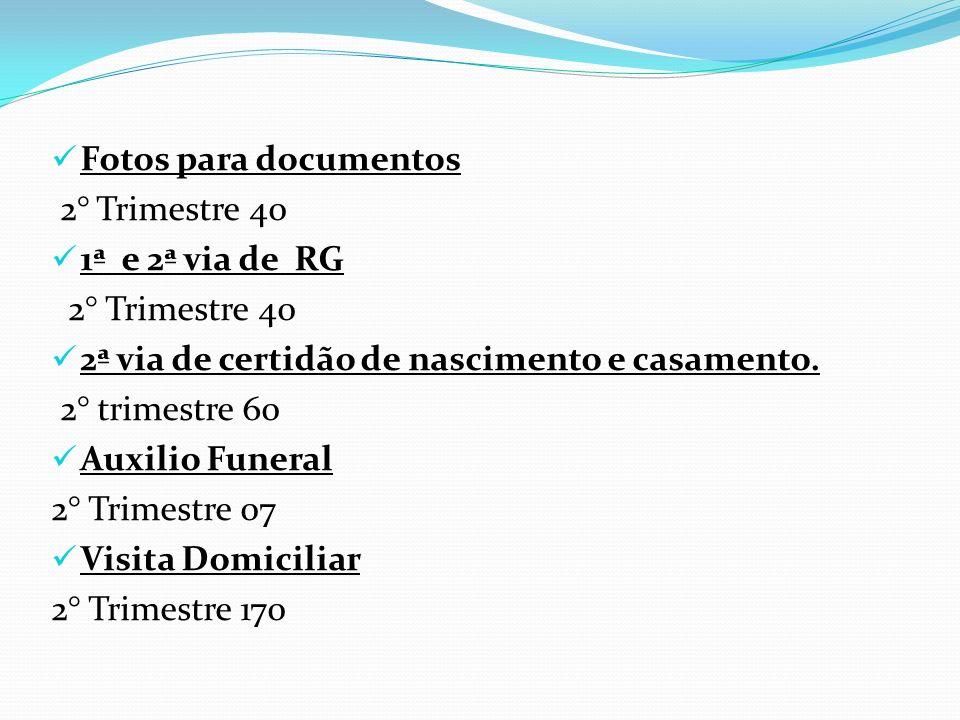 Fotos para documentos 2° Trimestre 40 1ª e 2ª via de RG 2° Trimestre 40 2ª via de certidão de nascimento e casamento. 2° trimestre 60 Auxilio Funeral
