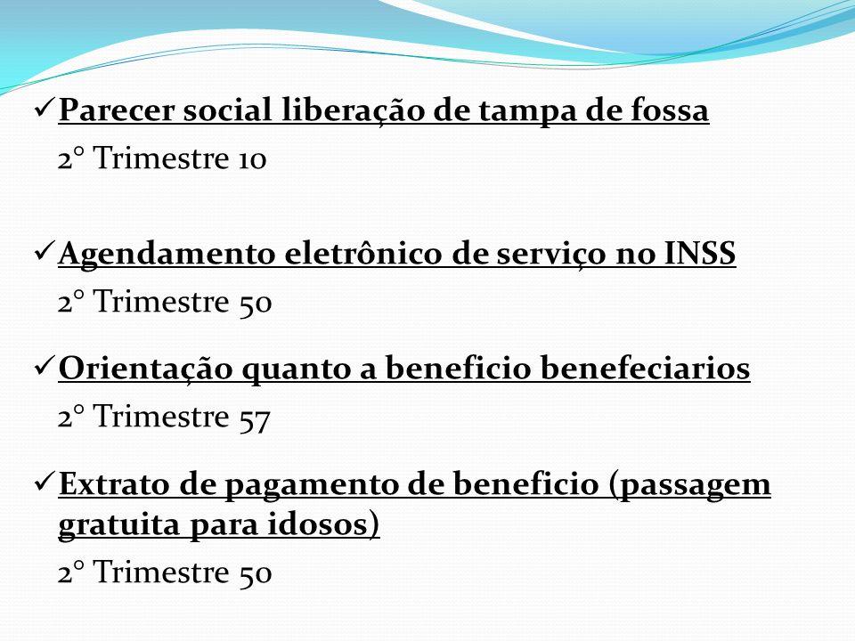 Parecer social liberação de tampa de fossa 2° Trimestre 10 Agendamento eletrônico de serviço no INSS 2° Trimestre 50 Orientação quanto a beneficio ben