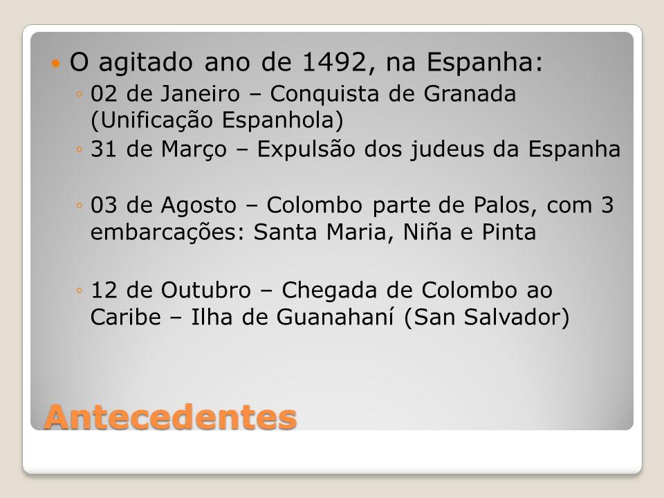 Antecedentes O agitado ano de 1492, na Espanha: 02 de Janeiro – Conquista de Granada (Unificação Espanhola) 31 de Março – Expulsão dos judeus da Espan