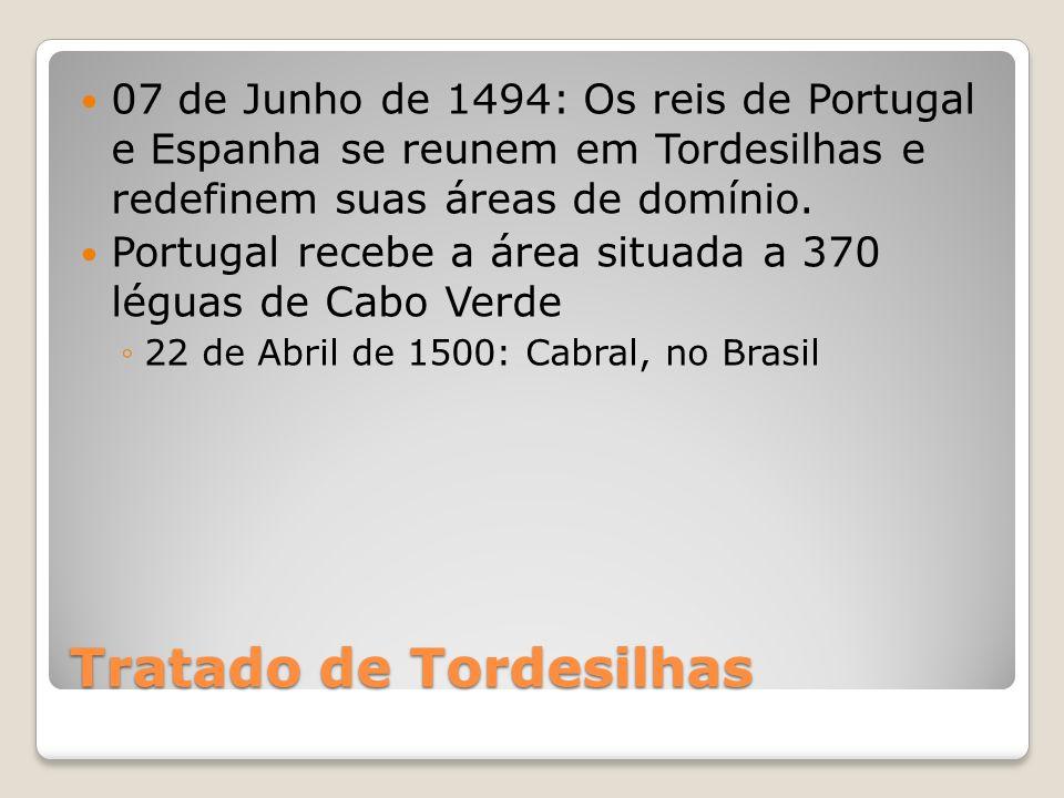 Tratado de Tordesilhas 07 de Junho de 1494: Os reis de Portugal e Espanha se reunem em Tordesilhas e redefinem suas áreas de domínio. Portugal recebe