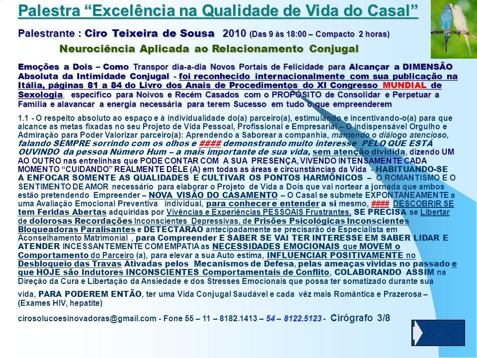Palestra Excelência na Qualidade de Vida do Casal Palestrante : Ciro Teixeira de Sousa 2010 (Das 9 às 18:00 – Compacto 2 horas) Neurociência Aplicada