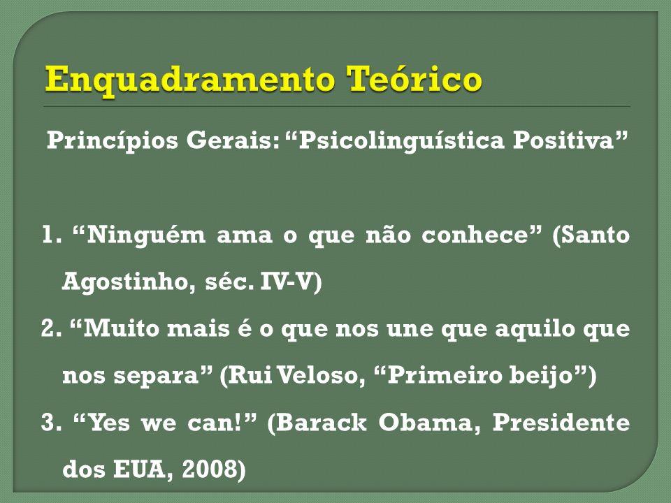Princípios Gerais: Psicolinguística Positiva 1. Ninguém ama o que não conhece (Santo Agostinho, séc. IV-V) 2. Muito mais é o que nos une que aquilo qu