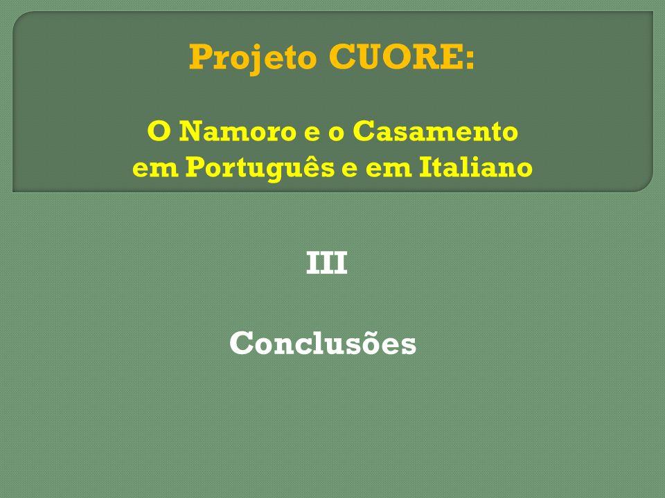 III Conclusões Projeto CUORE: O Namoro e o Casamento em Português e em Italiano