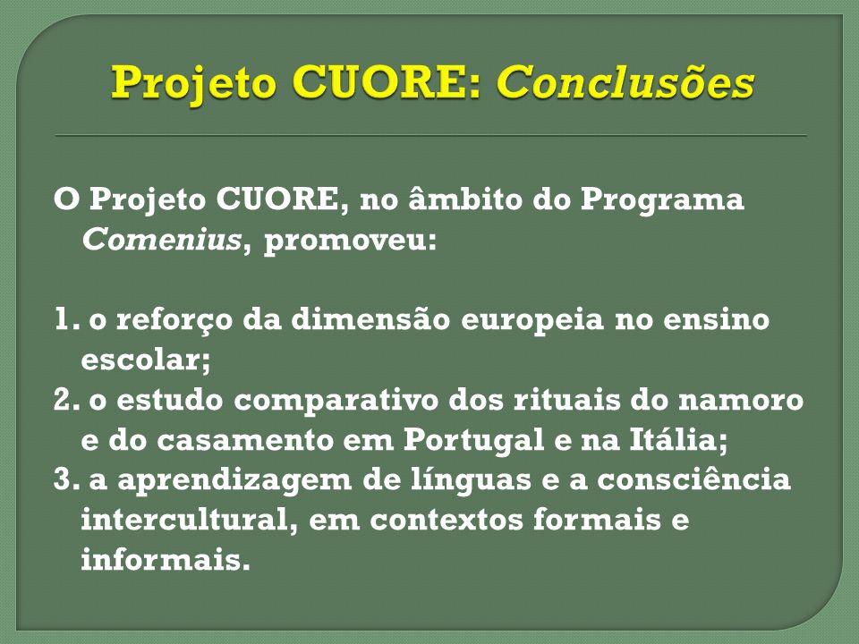 O Projeto CUORE, no âmbito do Programa Comenius, promoveu: 1. o reforço da dimensão europeia no ensino escolar; 2. o estudo comparativo dos rituais do