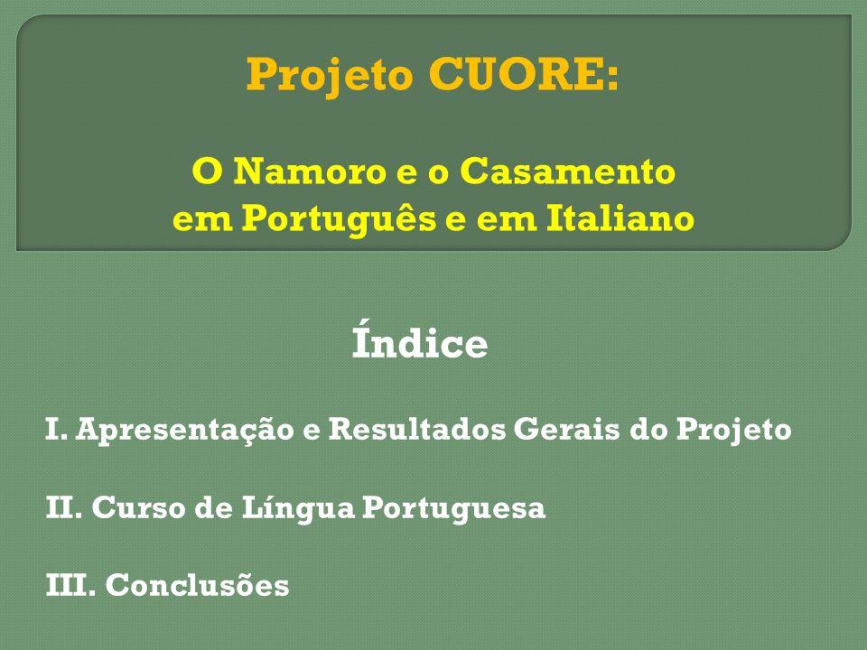 Índice I. Apresentação e Resultados Gerais do Projeto II. Curso de Língua Portuguesa III. Conclusões Projeto CUORE: O Namoro e o Casamento em Portuguê