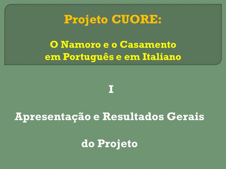 I Apresentação e Resultados Gerais do Projeto Projeto CUORE: O Namoro e o Casamento em Português e em Italiano