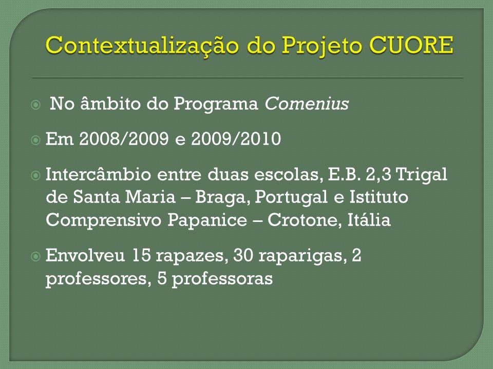 No âmbito do Programa Comenius Em 2008/2009 e 2009/2010 Intercâmbio entre duas escolas, E.B. 2,3 Trigal de Santa Maria – Braga, Portugal e Istituto Co