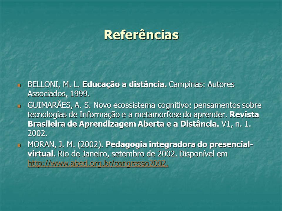Referências BELLONI, M. L. Educação a distância. Campinas: Autores Associados, 1999. BELLONI, M. L. Educação a distância. Campinas: Autores Associados