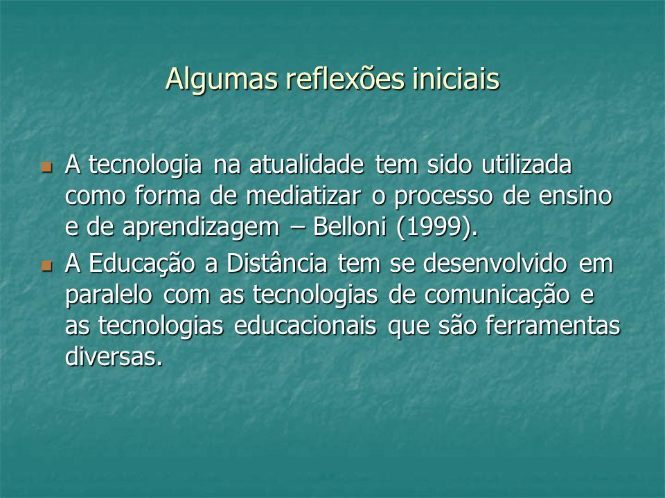 Algumas reflexões iniciais A tecnologia na atualidade tem sido utilizada como forma de mediatizar o processo de ensino e de aprendizagem – Belloni (19