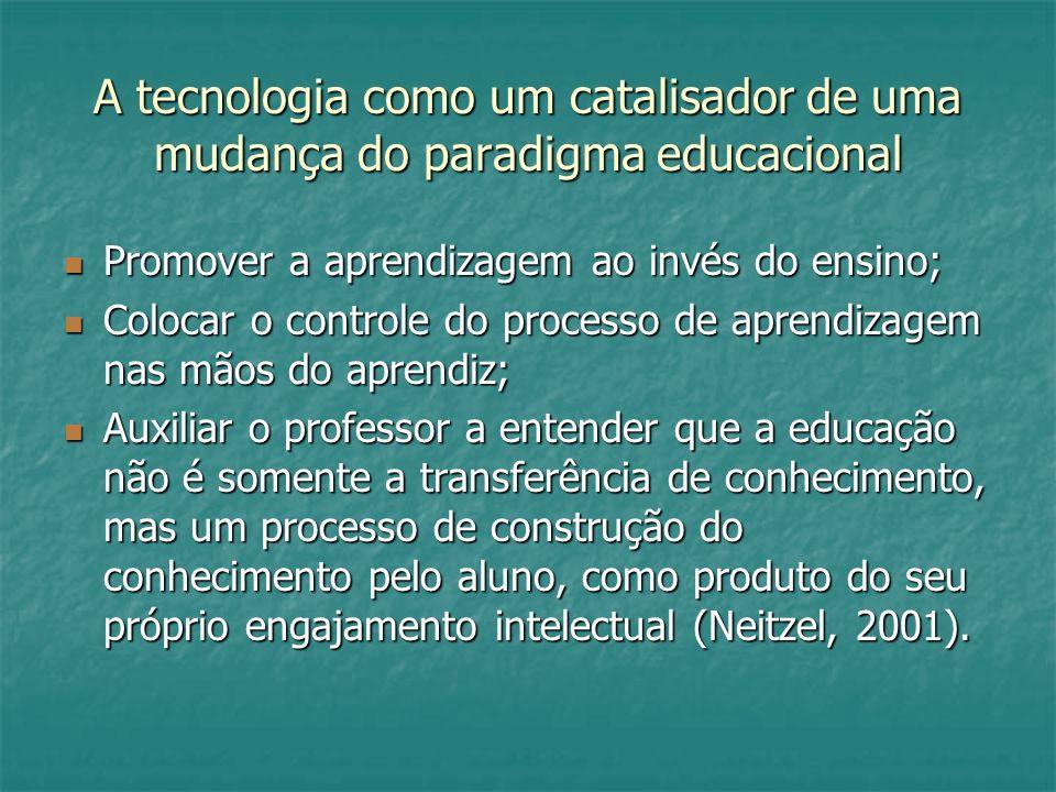 A tecnologia como um catalisador de uma mudança do paradigma educacional Promover a aprendizagem ao invés do ensino; Promover a aprendizagem ao invés