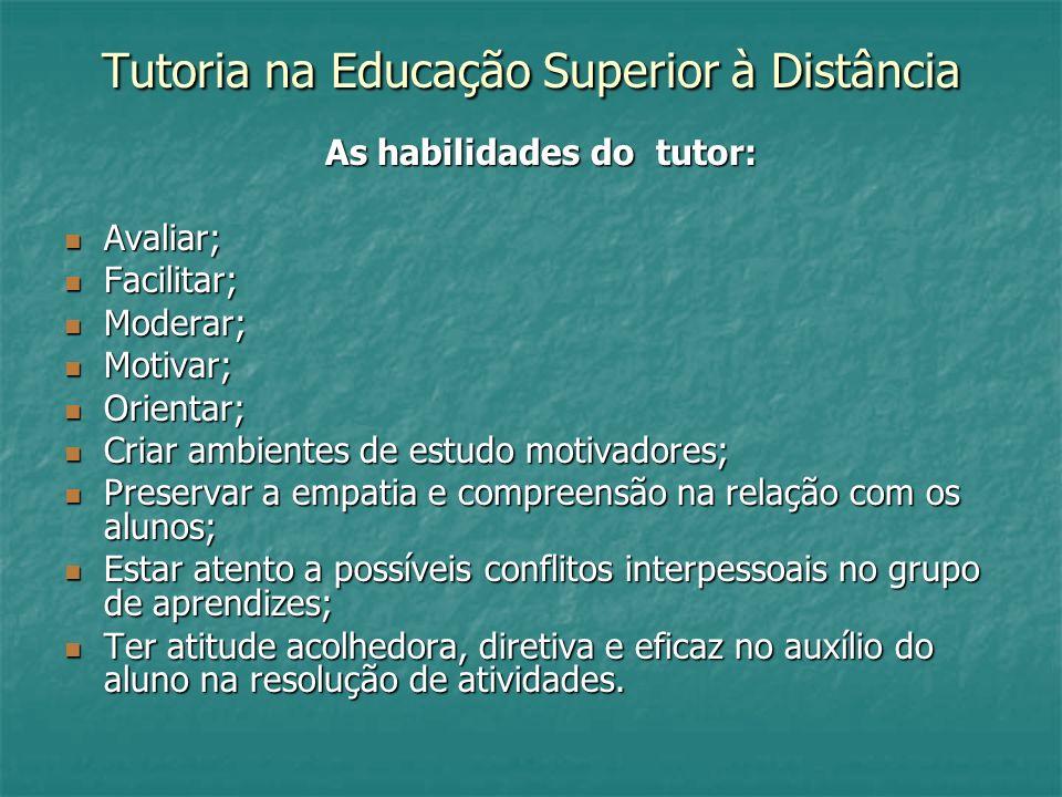 Tutoria na Educação Superior à Distância As habilidades do tutor: As habilidades do tutor: Avaliar; Avaliar; Facilitar; Facilitar; Moderar; Moderar; M