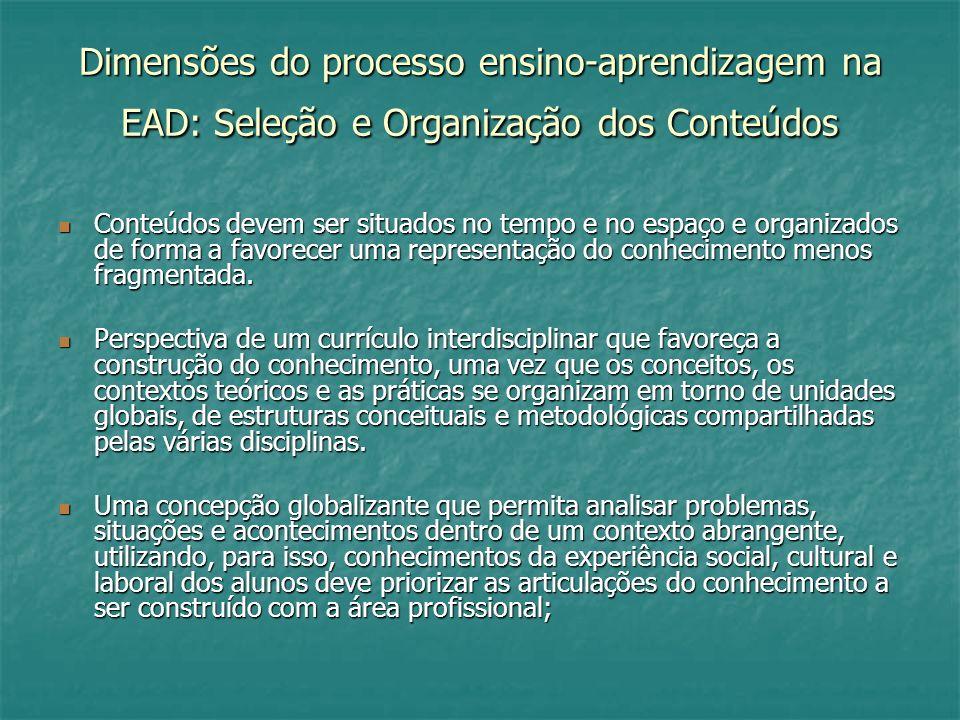 Dimensões do processo ensino-aprendizagem na EAD: Seleção e Organização dos Conteúdos Conteúdos devem ser situados no tempo e no espaço e organizados