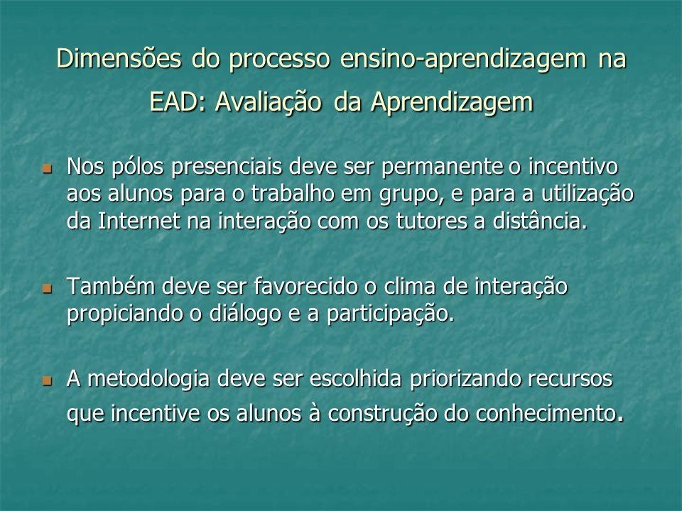 Dimensões do processo ensino-aprendizagem na EAD: Avaliação da Aprendizagem Nos pólos presenciais deve ser permanente o incentivo aos alunos para o tr