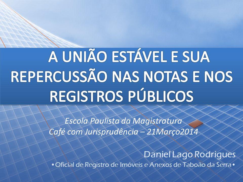 Escola Paulista da Magistratura Café com Jurisprudência – 21Março2014 Daniel Lago Rodrigues Oficial de Registro de Imóveis e Anexos de Taboão da Serra