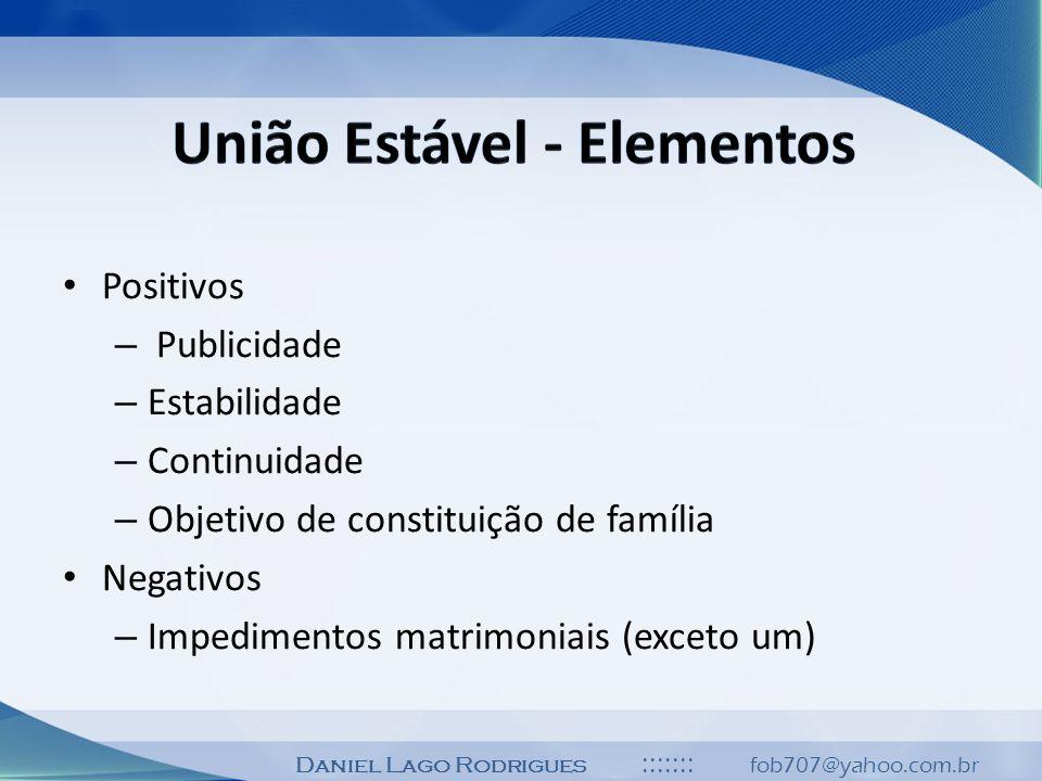 Daniel Lago Rodrigues ::::::: fob707@yahoo.com.br Positivos – Publicidade – Estabilidade – Continuidade – Objetivo de constituição de família Negativo