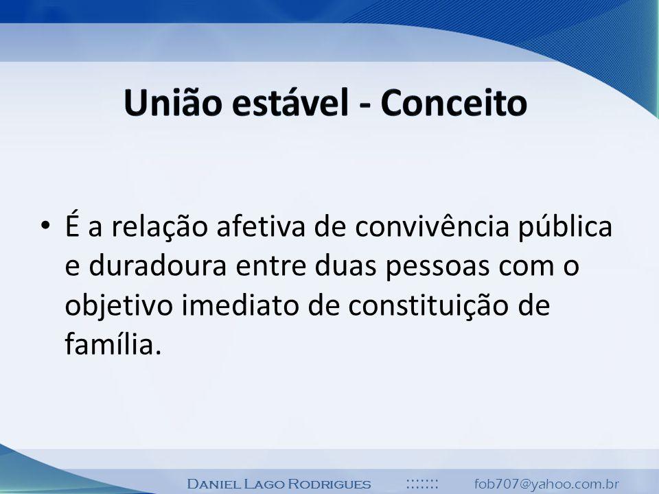 Daniel Lago Rodrigues ::::::: fob707@yahoo.com.br É a relação afetiva de convivência pública e duradoura entre duas pessoas com o objetivo imediato de