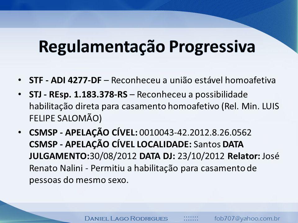 Daniel Lago Rodrigues ::::::: fob707@yahoo.com.br STF - ADI 4277-DF – Reconheceu a união estável homoafetiva STJ - REsp. 1.183.378-RS – Reconheceu a p