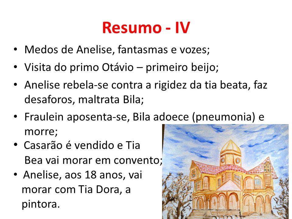 Resumo - IV Medos de Anelise, fantasmas e vozes; Visita do primo Otávio – primeiro beijo; Anelise rebela-se contra a rigidez da tia beata, faz desaforos, maltrata Bila; Fraulein aposenta-se, Bila adoece (pneumonia) e morre; Casarão é vendido e Tia Bea vai morar em convento; Anelise, aos 18 anos, vai morar com Tia Dora, a pintora.