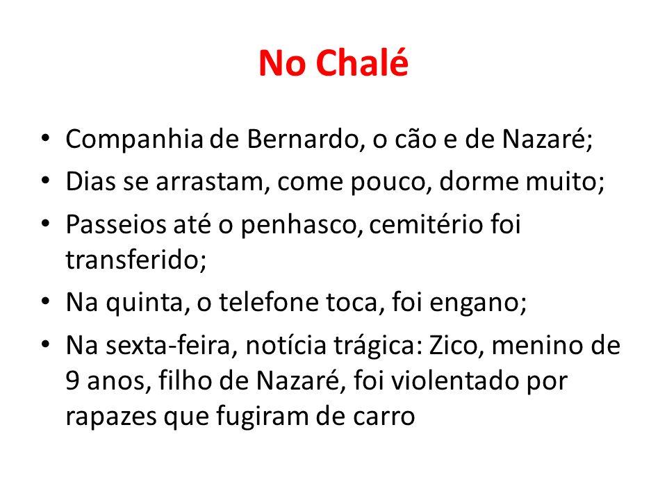 No Chalé Companhia de Bernardo, o cão e de Nazaré; Dias se arrastam, come pouco, dorme muito; Passeios até o penhasco, cemitério foi transferido; Na q