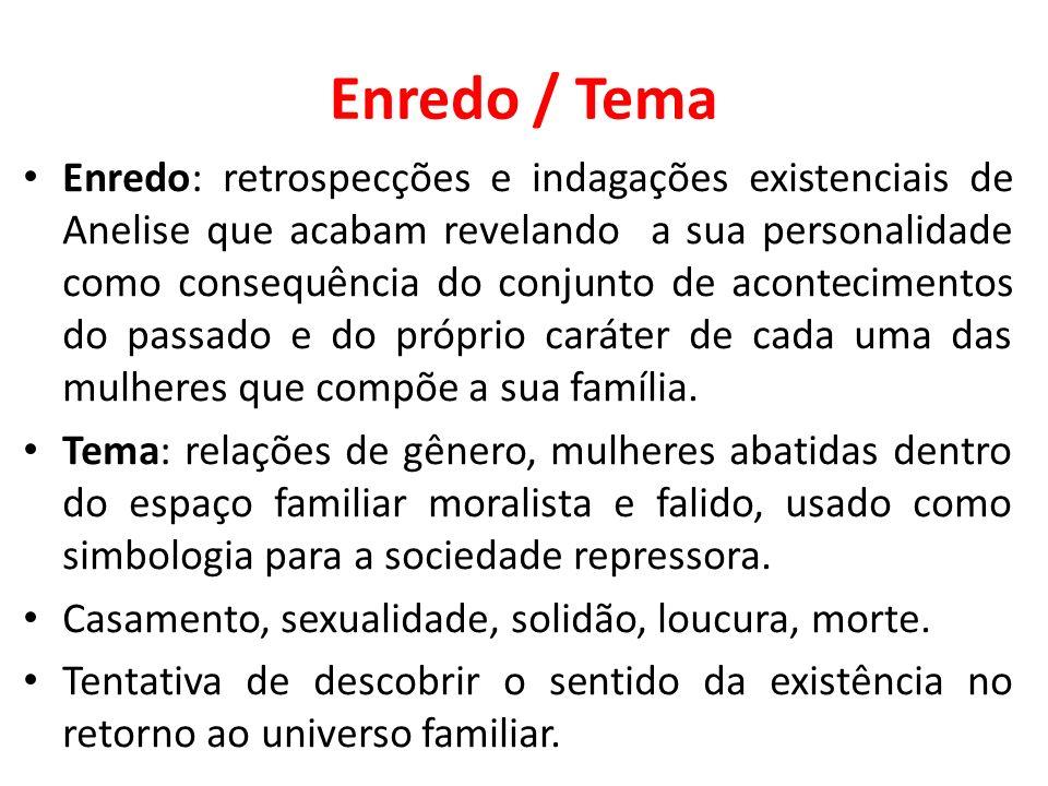 Enredo / Tema Enredo: retrospecções e indagações existenciais de Anelise que acabam revelando a sua personalidade como consequência do conjunto de aco
