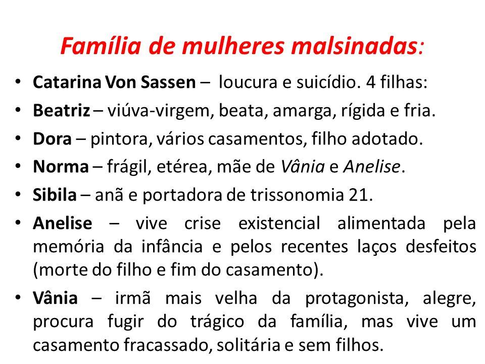 Família de mulheres malsinadas: Catarina Von Sassen – loucura e suicídio. 4 filhas: Beatriz – viúva-virgem, beata, amarga, rígida e fria. Dora – pinto