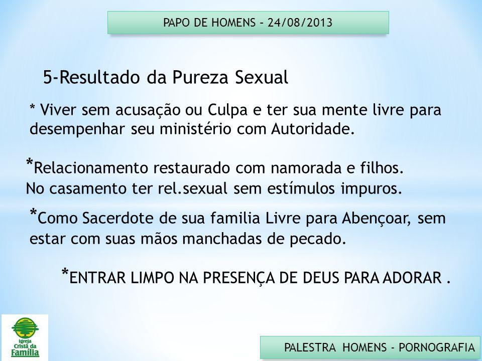 PAPO DE HOMENS – 24/08/2013 PALESTRA HOMENS - PORNOGRAFIA 5-Resultado da Pureza Sexual * Viver sem acusação ou Culpa e ter sua mente livre para desemp