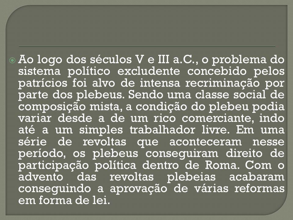 Ao logo dos séculos V e III a.C., o problema do sistema político excludente concebido pelos patrícios foi alvo de intensa recriminação por parte dos p