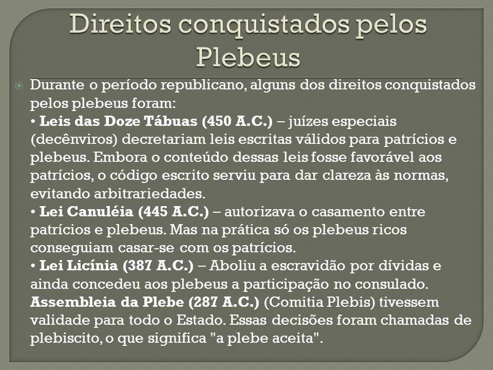 Durante o período republicano, alguns dos direitos conquistados pelos plebeus foram: Leis das Doze Tábuas (450 A.C.) – juízes especiais (decênviros) d