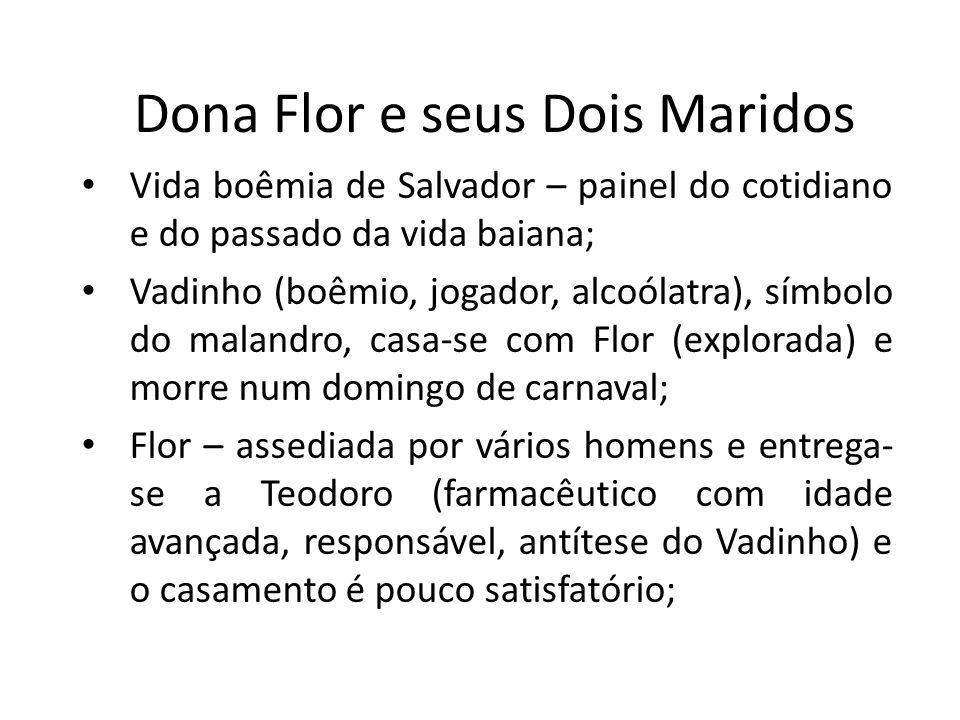 Dona Flor e seus Dois Maridos Vida boêmia de Salvador – painel do cotidiano e do passado da vida baiana; Vadinho (boêmio, jogador, alcoólatra), símbol