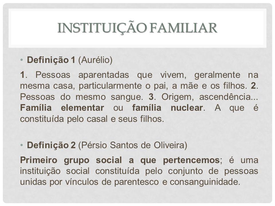 Definição 1 (Aurélio) 1. Pessoas aparentadas que vivem, geralmente na mesma casa, particularmente o pai, a mãe e os filhos. 2. Pessoas do mesmo sangue