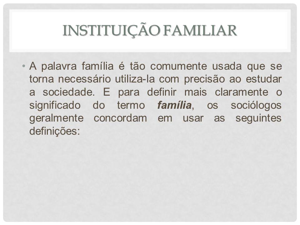 INSTITUIÇÃO FAMILIAR A palavra família é tão comumente usada que se torna necessário utiliza-la com precisão ao estudar a sociedade. E para definir ma