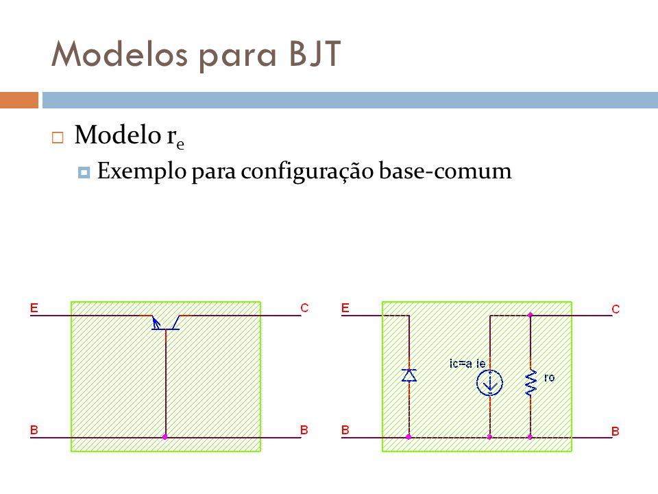 Modelos para BJT Modelo r e Exemplo para configuração base-comum