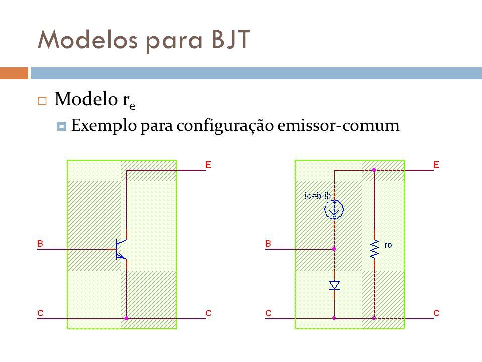 Modelos para BJT Modelo r e Exemplo para configuração emissor-comum