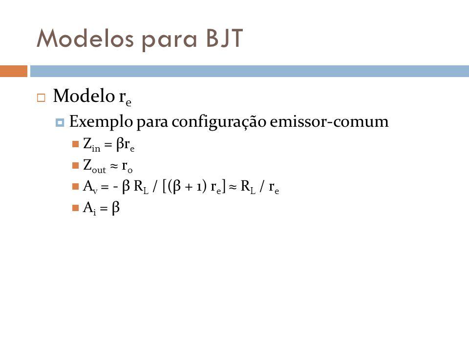 Modelos para BJT Modelo r e Exemplo para configuração emissor-comum Z in = βr e Z out r o A v = - β R L / [(β + 1) r e ] R L / r e A i = β