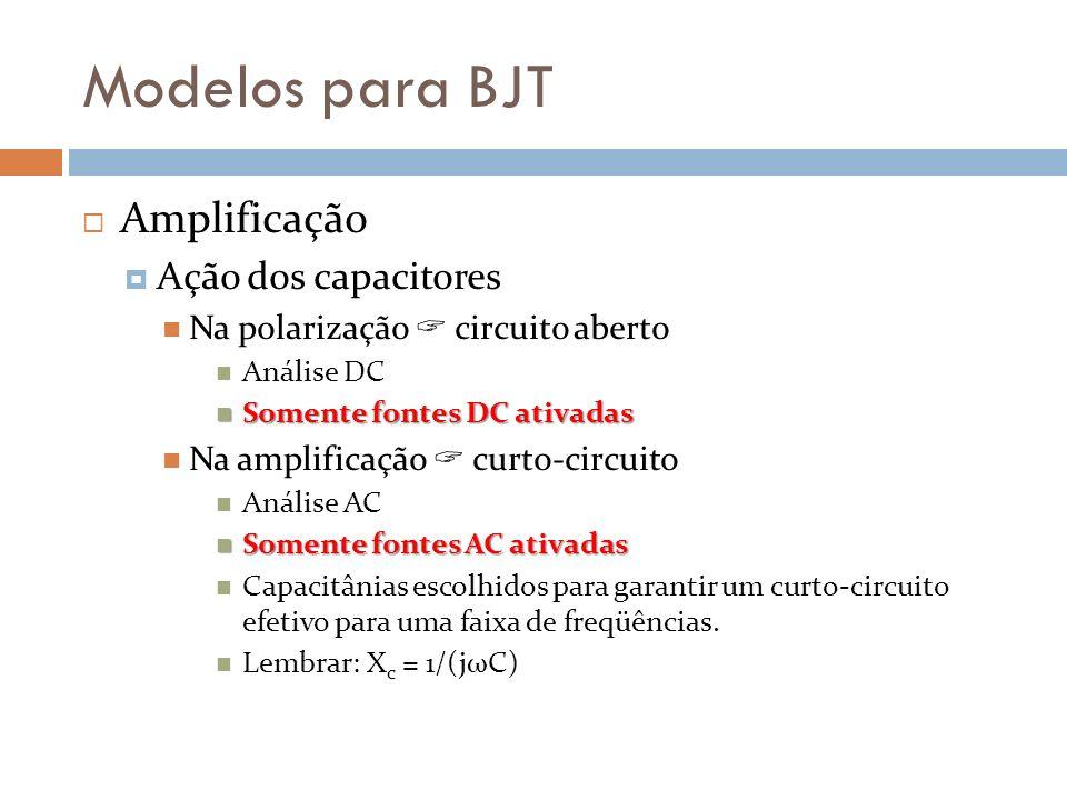 Modelos para BJT Amplificação Ação dos capacitores Na polarização circuito aberto Análise DC Somente fontes DC ativadas Somente fontes DC ativadas Na