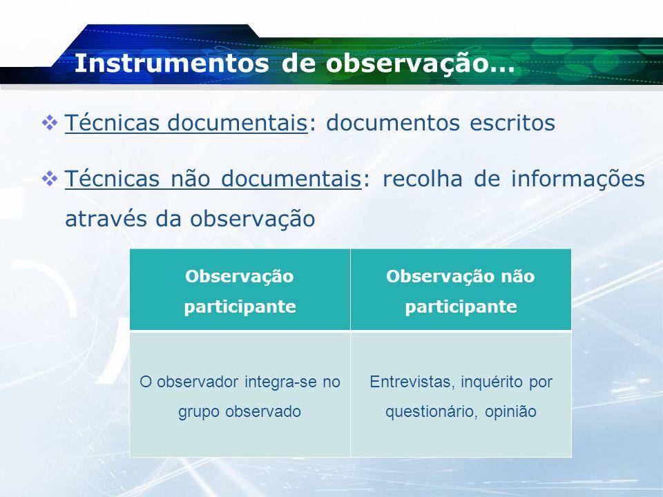Técnicas documentais: documentos escritos Técnicas não documentais: recolha de informações através da observação Instrumentos de observação… Observaçã