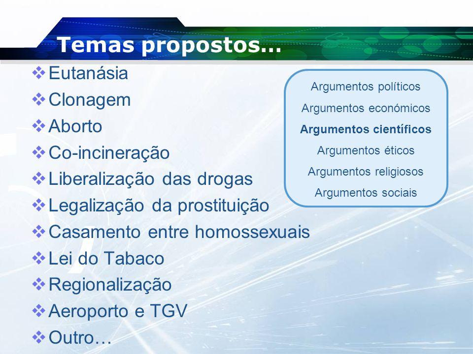 Temas propostos… Eutanásia Clonagem Aborto Co-incineração Liberalização das drogas Legalização da prostituição Casamento entre homossexuais Lei do Tab