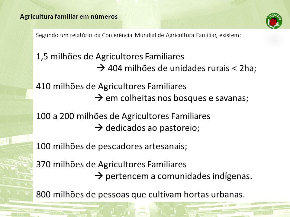 Segundo um relatório da Conferência Mundial de Agricultura Familiar, existem: 1,5 milhões de Agricultores Familiares 404 milhões de unidades rurais <