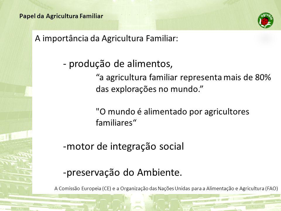 A importância da Agricultura Familiar: - produção de alimentos, a agricultura familiar representa mais de 80% das explorações no mundo.