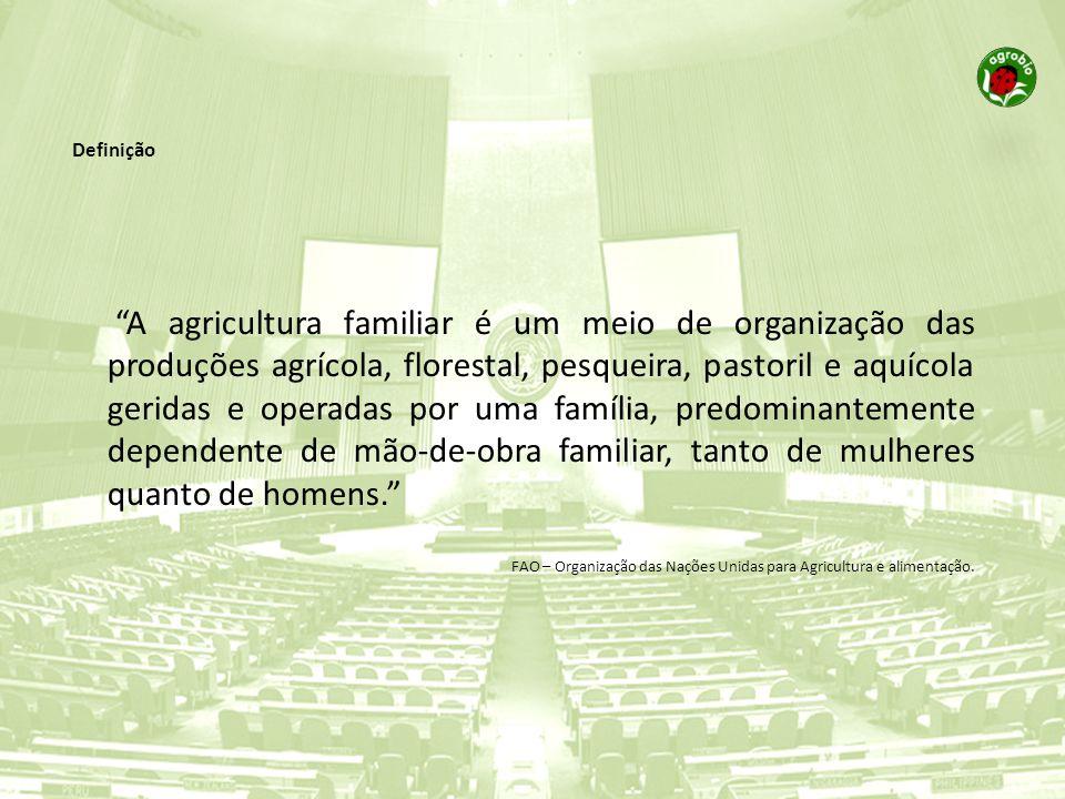 A agricultura familiar é um meio de organização das produções agrícola, florestal, pesqueira, pastoril e aquícola geridas e operadas por uma família,