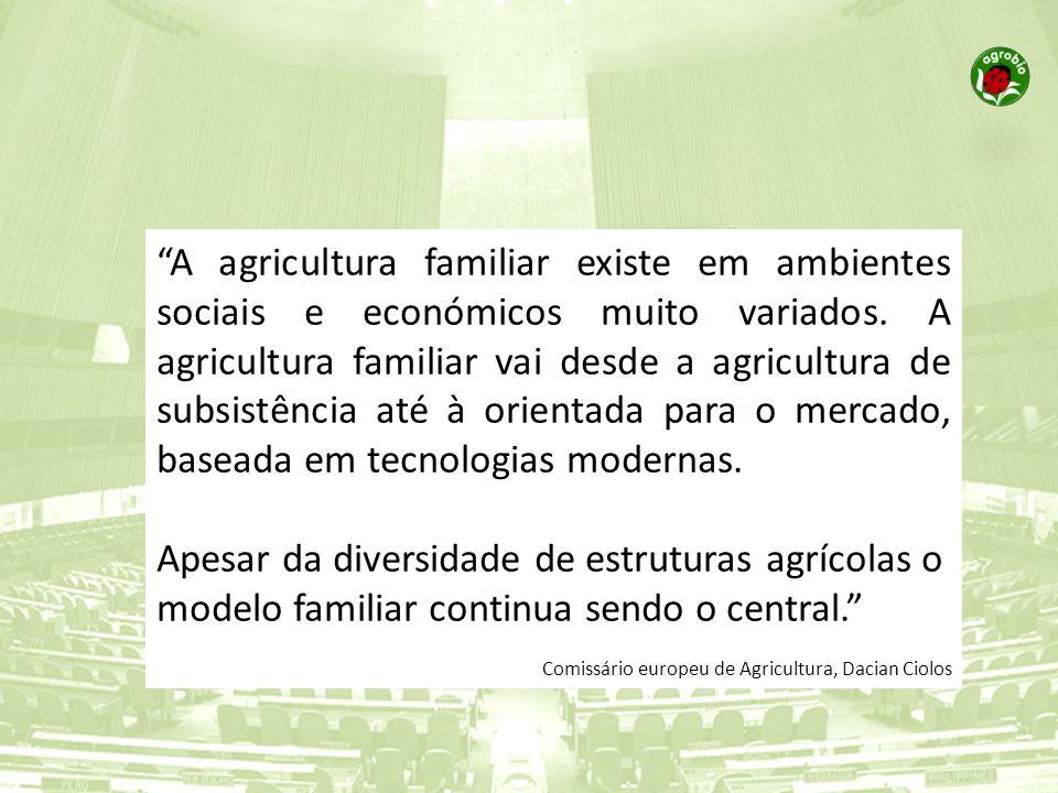 A agricultura familiar existe em ambientes sociais e económicos muito variados. A agricultura familiar vai desde a agricultura de subsistência até à o