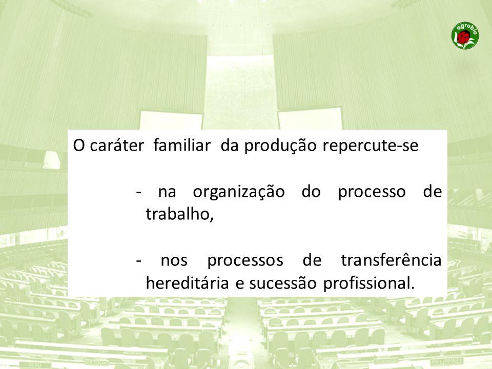 O caráter familiar da produção repercute-se - na organização do processo de trabalho, - nos processos de transferência hereditária e sucessão profissi