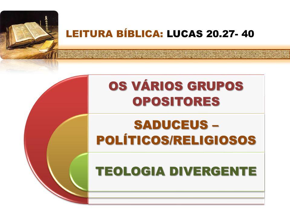 LEITURA BÍBLICA: LUCAS 20.27- 40 OS VÁRIOS GRUPOS OPOSITORES SADUCEUS – POLÍTICOS/RELIGIOSOS TEOLOGIA DIVERGENTE