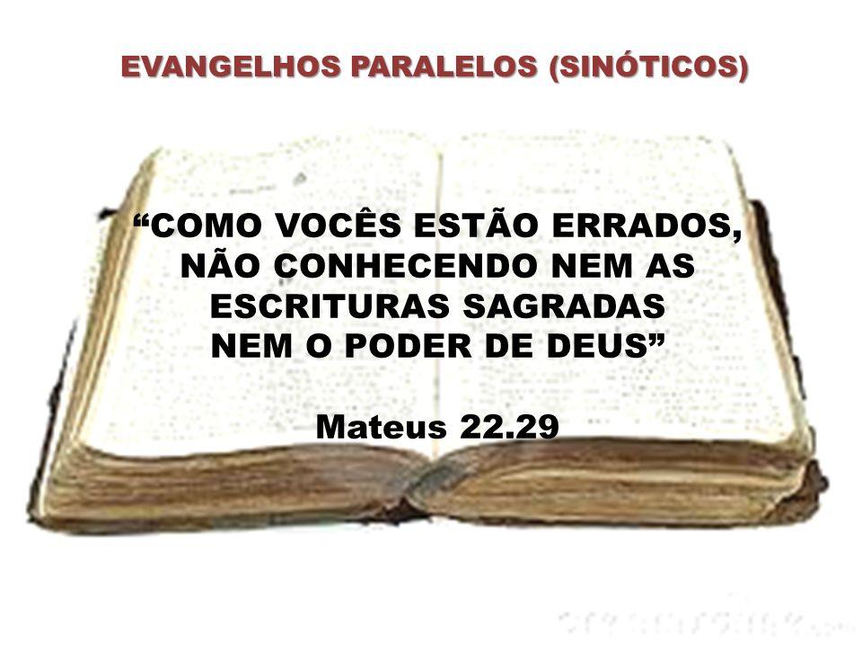 EVANGELHOS PARALELOS (SINÓTICOS) COMO VOCÊS ESTÃO ERRADOS, NÃO CONHECENDO NEM AS ESCRITURAS SAGRADAS NEM O PODER DE DEUS Mateus 22.29