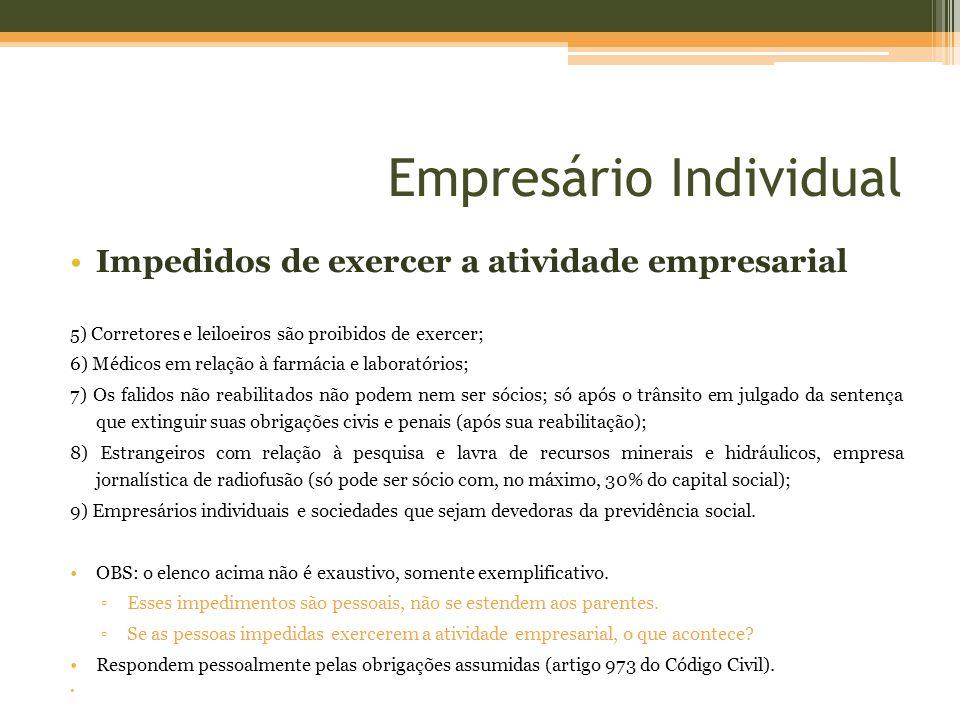 Empresário Individual Impedidos de exercer a atividade empresarial 5) Corretores e leiloeiros são proibidos de exercer; 6) Médicos em relação à farmác